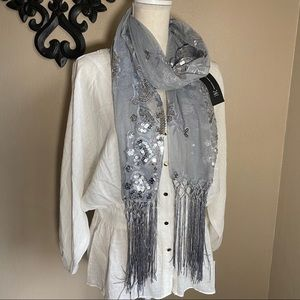 NWT INC International Concepts Silver Sequin Scarf